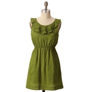 Anthropologie Cinched Voile dress in olive green 6